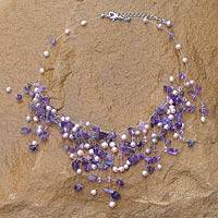 Pearl and amethyst beaded necklace, 'Mystic Cloudfall' - Pearl and Amethyst Beaded Necklace