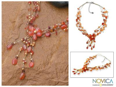 Pearl and carnelian choker, 'Daisy Sunshine' - Floral Beaded Carnelian Necklace from Thailand