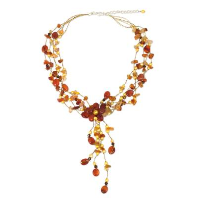 Floral Beaded Carnelian Necklace from Thailand