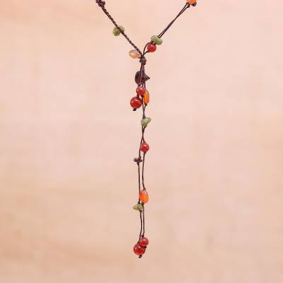 Carnelian and garnet beaded necklace, 'Gem Rave' - Carnelian and Garnet Necklace