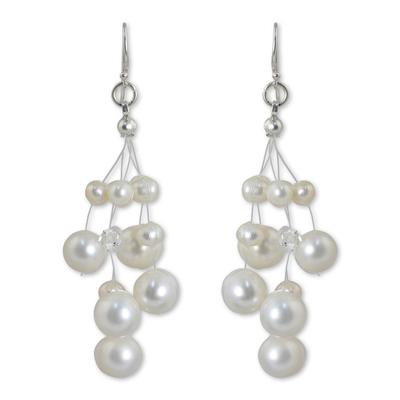 Thai Bridal Waterfall Pearl Earrings