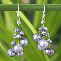 Pearl waterfall earrings, 'Liquorice Candyfloss' - Pearl Waterfall Earrings
