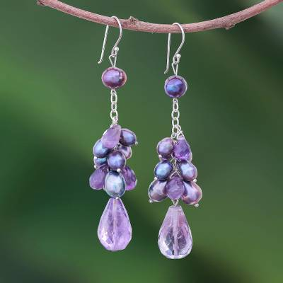 Pearl and amethyst cluster earrings, 'Surreal Sophistication' - Handmade Pearl and Amethyst Earrings