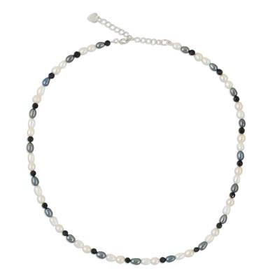 Handmade Pearl and Onyx Necklace