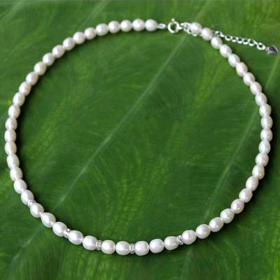 Pearl strand necklace, 'Debutante' - Handmade Pearl Strand Necklace