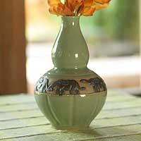 Celadon ceramic vase, 'Elephant Heralds' - Handmade Celadon Ceramic Vase from Thailand
