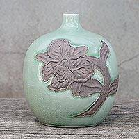 Celadon ceramic vase, 'Green Orchid Bubble' - Celadon ceramic vase