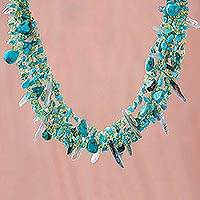 Turquoise and peridot necklace, 'Jungle River' - Hand Made Beaded Peridot and Turquoise Necklace