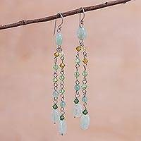 Quartzite waterfall earrings, 'Shimmering Perfection' (Thailand)