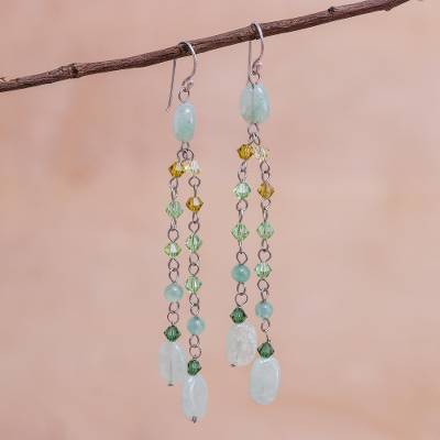 Quartzite waterfall earrings, 'Shimmering Perfection' - Beaded Quartzite Earrings