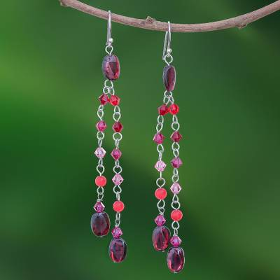 Quartzite and garnet waterfall earrings, Shimmering Perfection