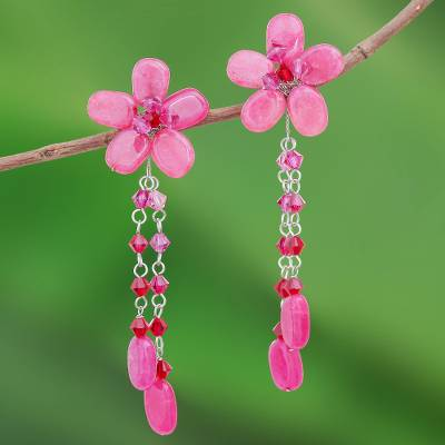 Floral earrings, 'Blossom Bounty' - Floral earrings