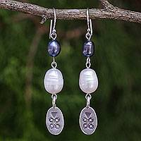 Pearl dangle earrings, 'Hill Tribe Blue' - Fair Trade Silver and Pearl Earrings