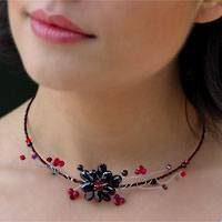 Garnet choker, 'Crimson Beauty' - Fair Trade Floral Quartz Necklace from Thailand