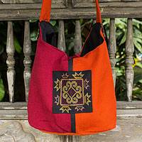 Shoulder bag, 'Hmong Chic' - Hill Tribe Embroidered Sling Handbag from Thailand