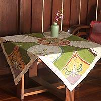 Cotton batik tablecloth, 'Real Life' - Batik Cotton Table Cloth