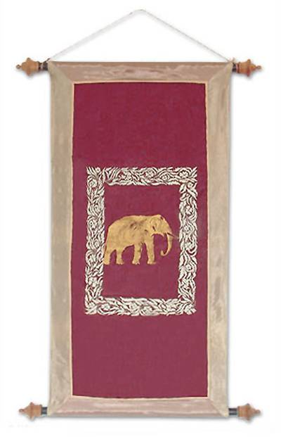 Silk and cotton wall hanging