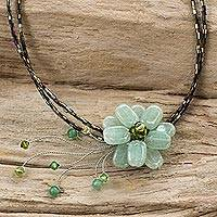 Beaded necklace, 'Verdant Floral Chic' - Thai Floral Aventurine Necklace