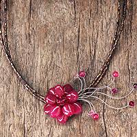 Garnet choker, 'Scarlet Floral Chic' (Thailand)