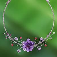Amethyst and quartzite flower necklace, 'Lilac Bouquet' - Floral Amethyst and Quartz Necklace
