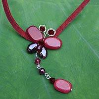 Garnet choker, 'Crimson Flight' - Garnet and Quartz Butterfly Necklace