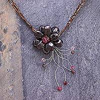 Garnet flower necklace 'Scarlet Floral Chic' - Floral Quartz and Garnet Necklace