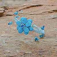 Beaded wrap bracelet, 'Sky Bouquet' - Reconstituted Turquoise Beaded Bracelet