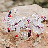 Rose quartz and garnet bracelet, 'Pink Garland' - Artisan Crafted Floral Quartz Wristband Bracelet