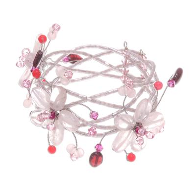 Artisan Crafted Floral Quartz Wristband Bracelet