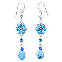 Sterling silver floral earrings, 'Sweet Blue Eternal' - Fair Trade Floral Beaded Earrings