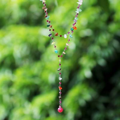 Quartzite and rose quartz necklace, 'Colorful Comet' - Artisan Crafted Thai Beaded Multigem Necklace