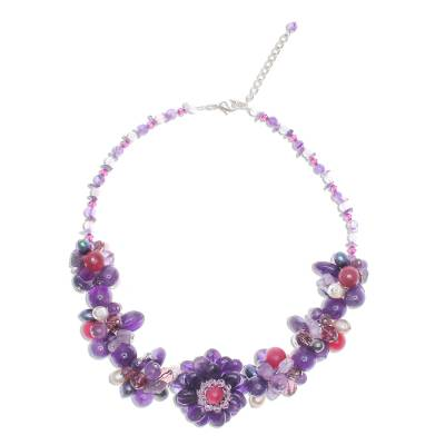 Beaded Amethyst and Pearl Necklace