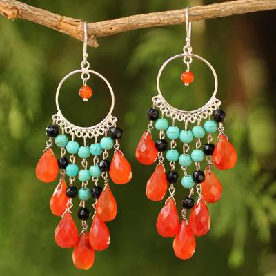 Carnelian chandelier earrings, 'Ginger Ruffles' - Thai Beaded Carnelian Chandelier Earrings