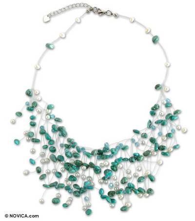 Beaded Turquoise and Pearl Necklace