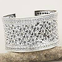 Sterling silver cuff bracelet, 'Meadow in Bloom'