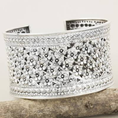 Sterling silver cuff bracelet, 'Meadow in Bloom' - Floral Sterling Silver Cuff Bracelet