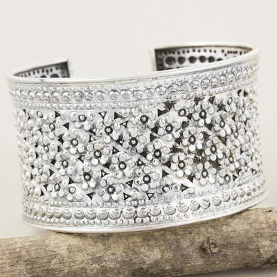 Sterling silver cuff bracelet, 'Meadow in Bloom' - Floral Sterling Silver Cuff Bracelet