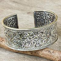 Sterling silver cuff bracelet, 'Renewal'