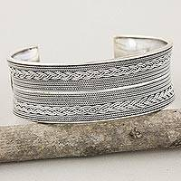Sterling silver cuff bracelet, 'Floral Charm' - Hand Crafted Sterling Silver Cuff Bracelet