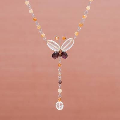 Citrine and garnet pendant necklace, 'Butterfly Secrets' - Citrine and Garnet Pendant Necklace