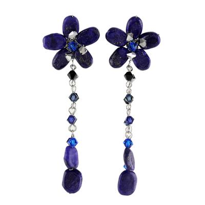 Beaded Lapis Lazuli Dangle Earrings
