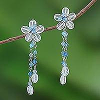 Flower earrings, 'Rosebud Bouquet' - Beaded Flower Earrings Handmade in Thailand