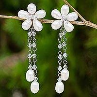 Pearl flower earrings, 'Bouquet of Pearls' - Handcrafted Bridal Pearl Earrings
