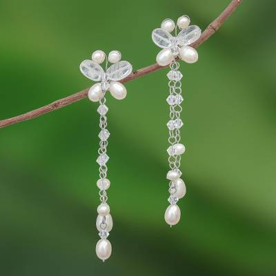 Pearl and quartz dangle earrings, 'Song of Summer' - Pearl and Quartz Beaded Earrings