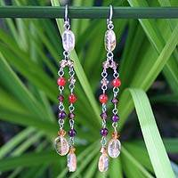 Citrine and carnelian dangle earrings,