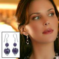 Amethyst dangle earrings, Lotus Lake