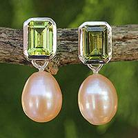 Pearl and peridot drop earrings, 'Attraction' - Pearl and Peridot Drop Earrings