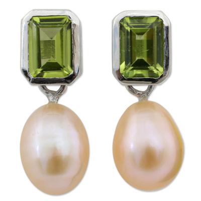 Pearl and Peridot Drop Earrings