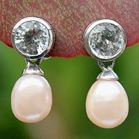 Pearl and white topaz drop earrings, 'Halo Light' - Pearl and White Topaz Drop Earrings
