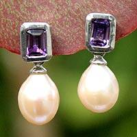 Pearl and amethyst drop earrings, 'Attraction' - Pearl and Amethyst Drop Earrings